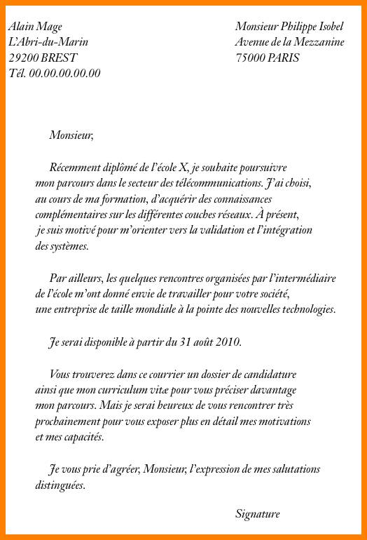 Lettre de motivation post bac ecole d'ingenieur