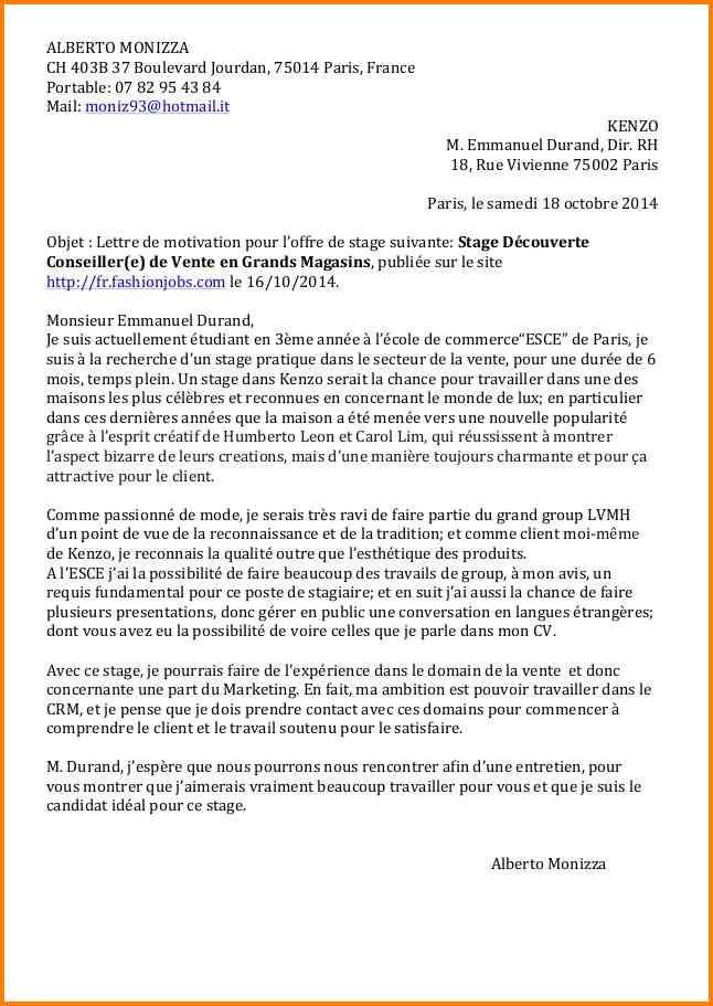 lettre de motivation pour etablissement scolaire