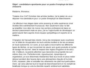 Lettre de motivation employé de pressing