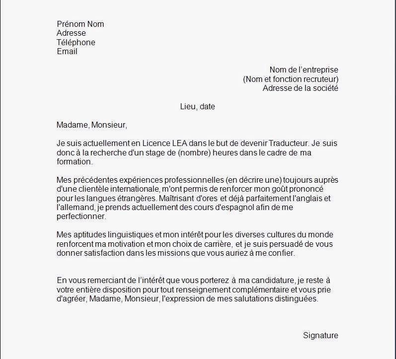 lettre de motivation en allemand pour stage