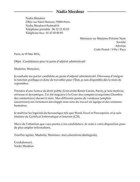 lettre de motivation pour travailler dans la fonction publique