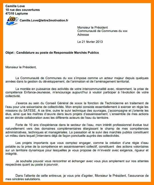 lettre de motivation assainissement
