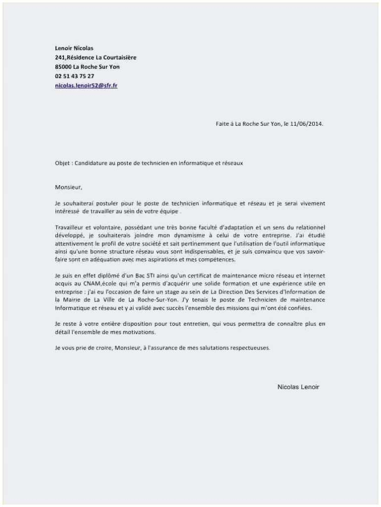 lettre de motivation technicienne de surface sans