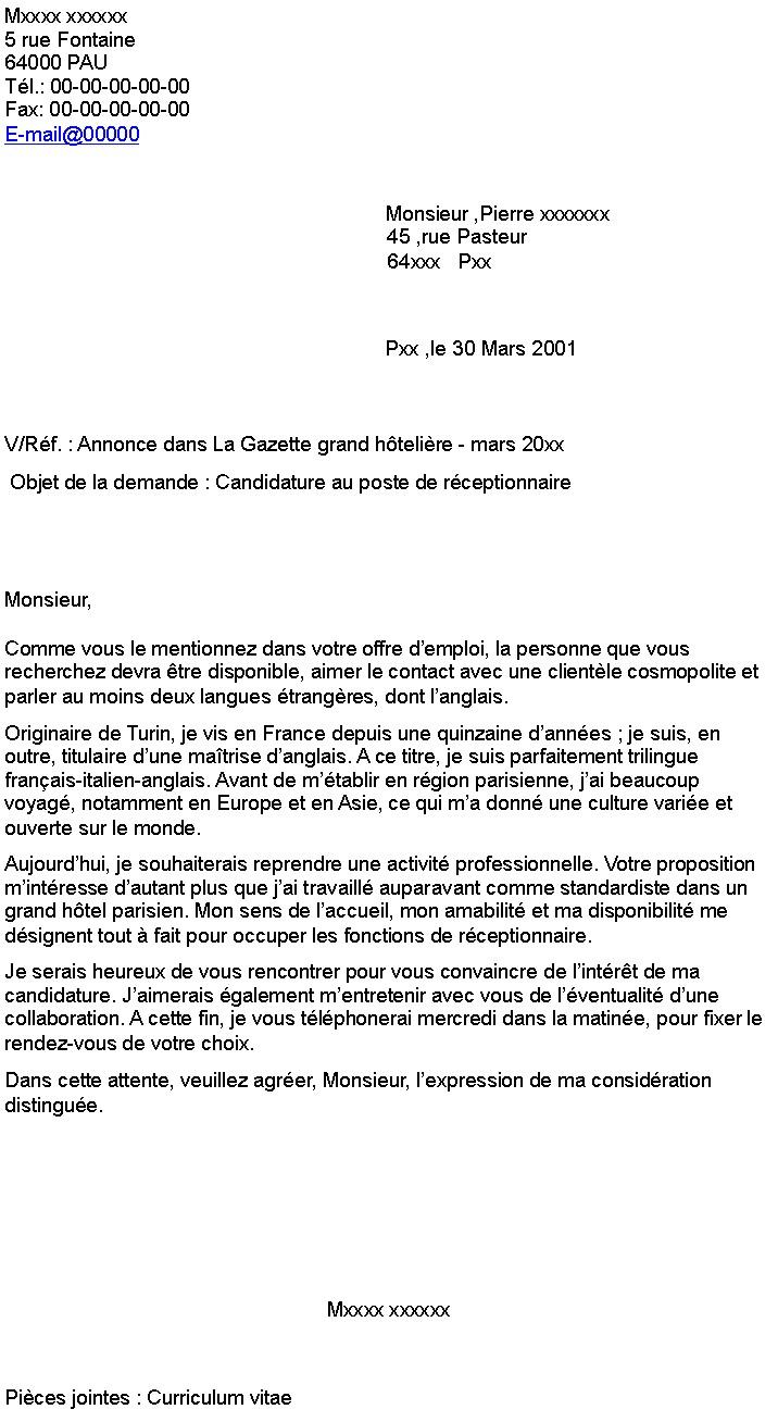 hotesse d u0026 39 accueil lettre de motivation gratuite