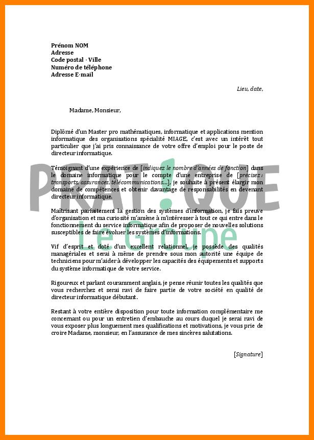 lettre de motivation service informatique aux organisations