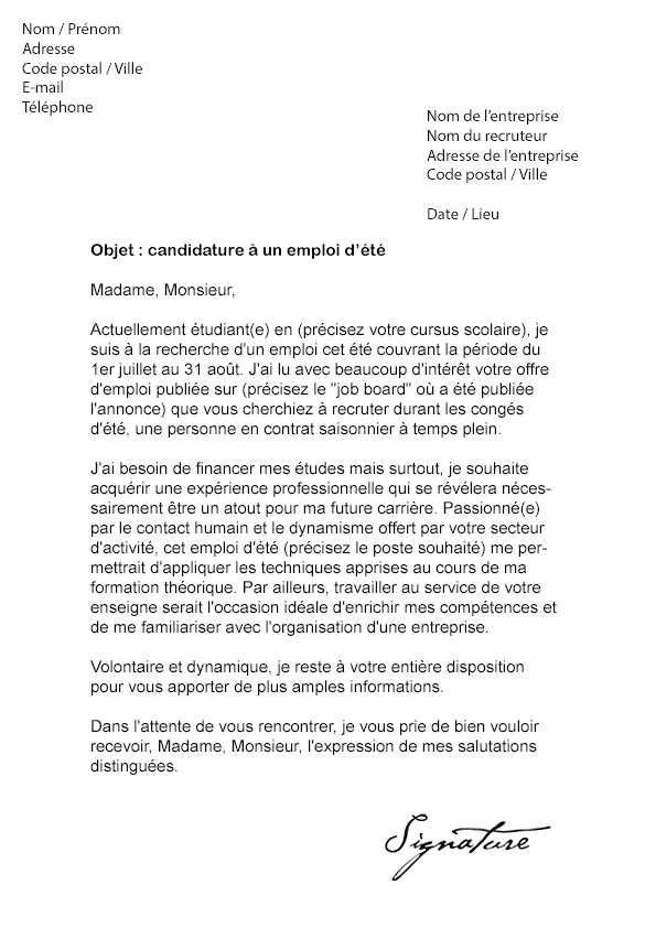 lettre de motivation restauration etudiant
