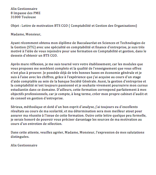 lettre de motivation l3 aes