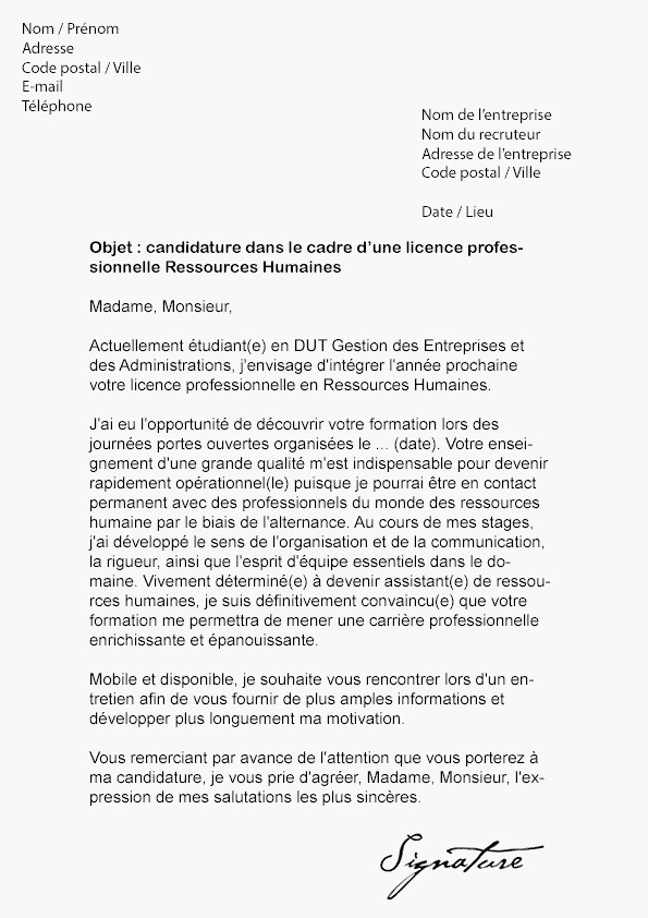 lettre de motivation licence economie et gestion