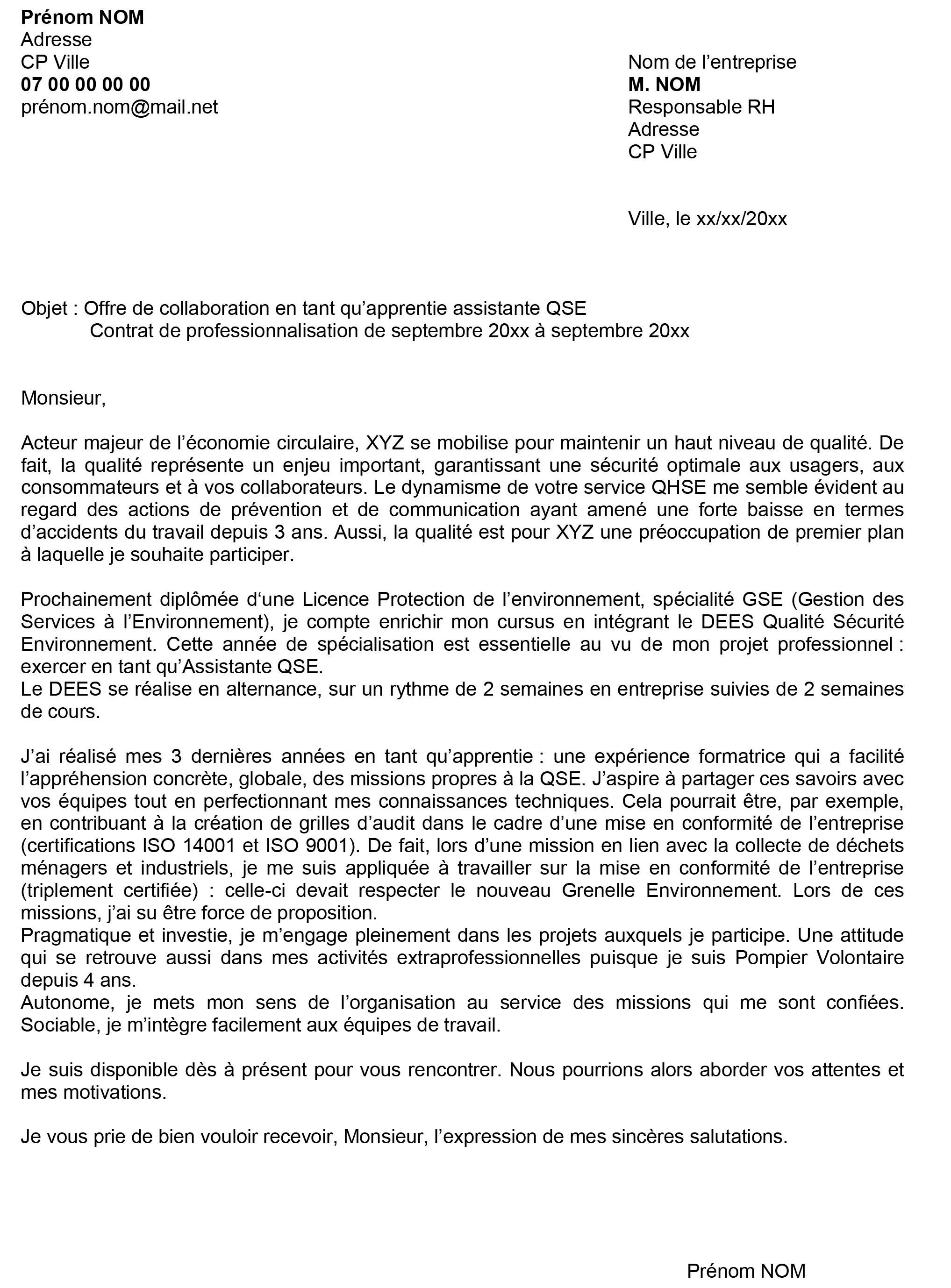 Exemple lettre de motivation licence rh alternance
