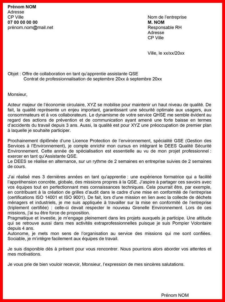 lettre de motivation licence pro management et gestion des