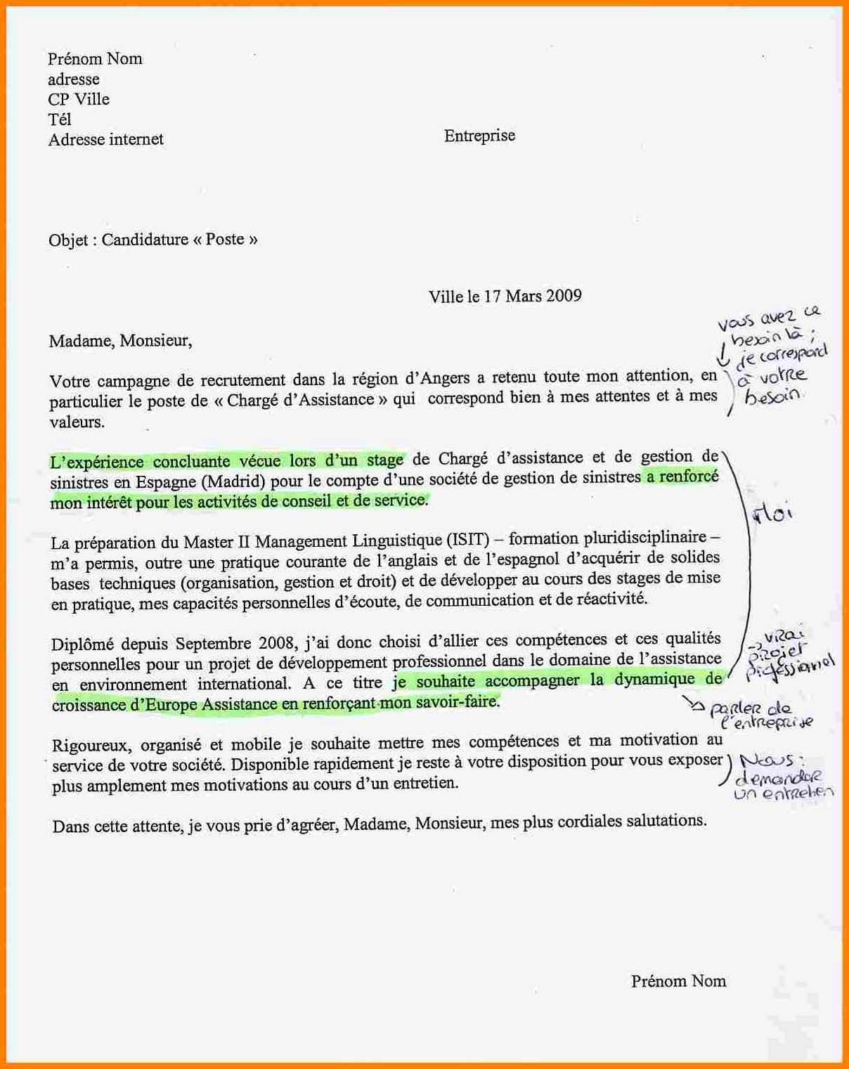 mise en page d u0026 39 une lettre de motivation manuscrite