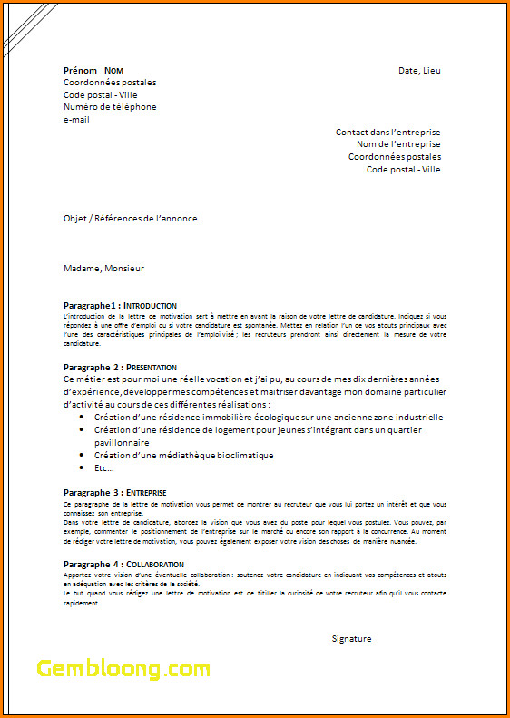 disposition lettre de motivation manuscrite