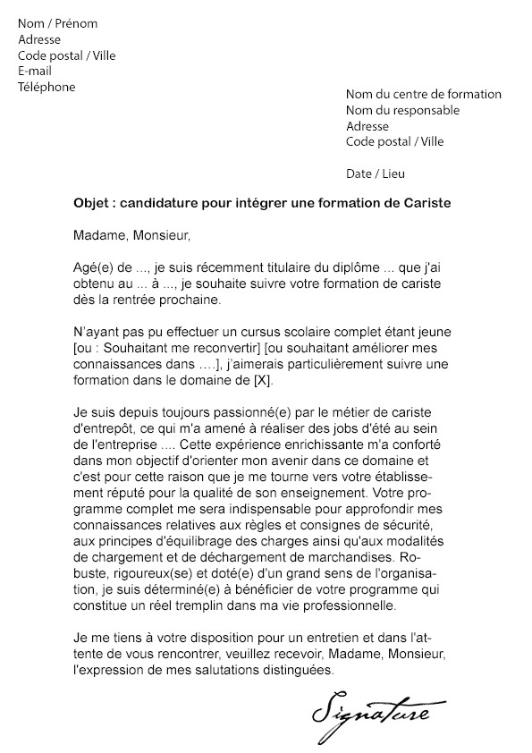 lettre de motivation manutention d u00e9butant