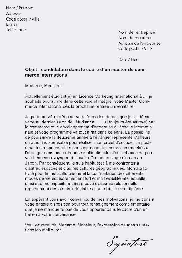 lettre de motivation alternance rh master