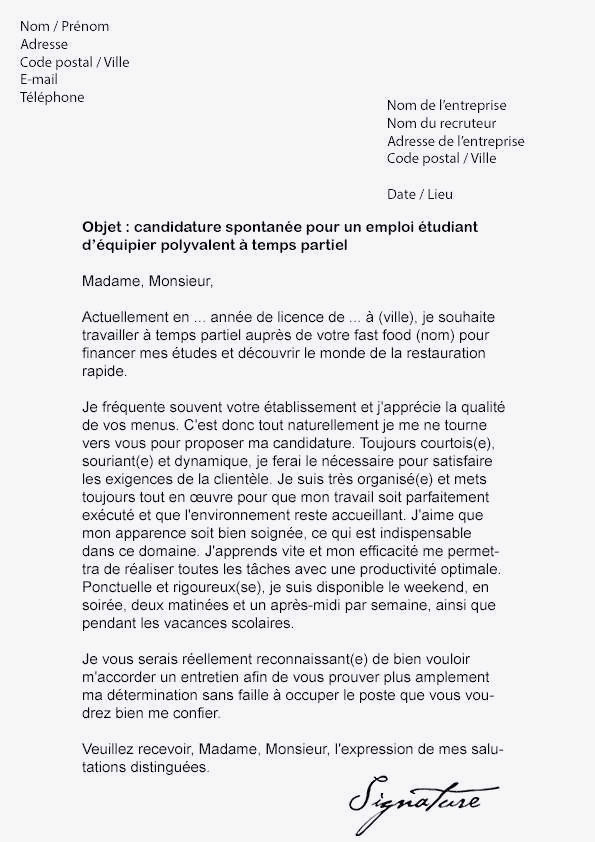exemple de lettre de motivation pour macdonald