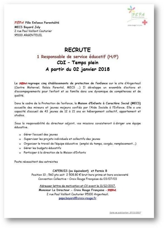 lettre de motivation directrice adjointe creche