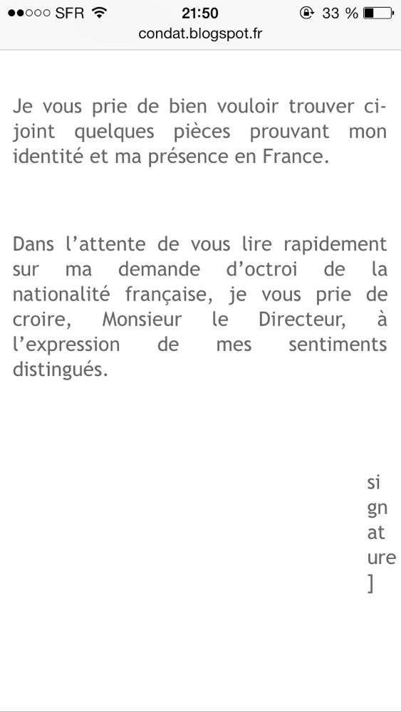 exemple de lettre de motivation pour naturalisation