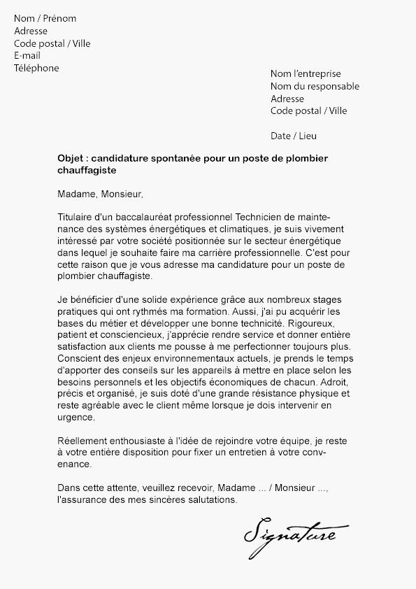 lettre de motivation cap installateur thermique