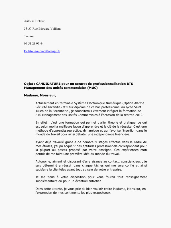 lettre de motivation stage bts commerce international