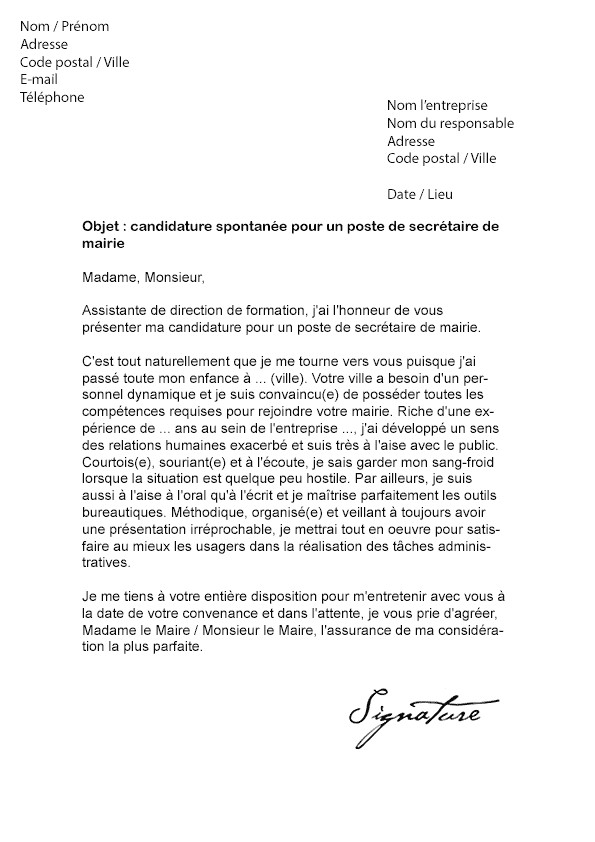 job d u0026 39  u00e9t u00e9 lettre de motivation mairie