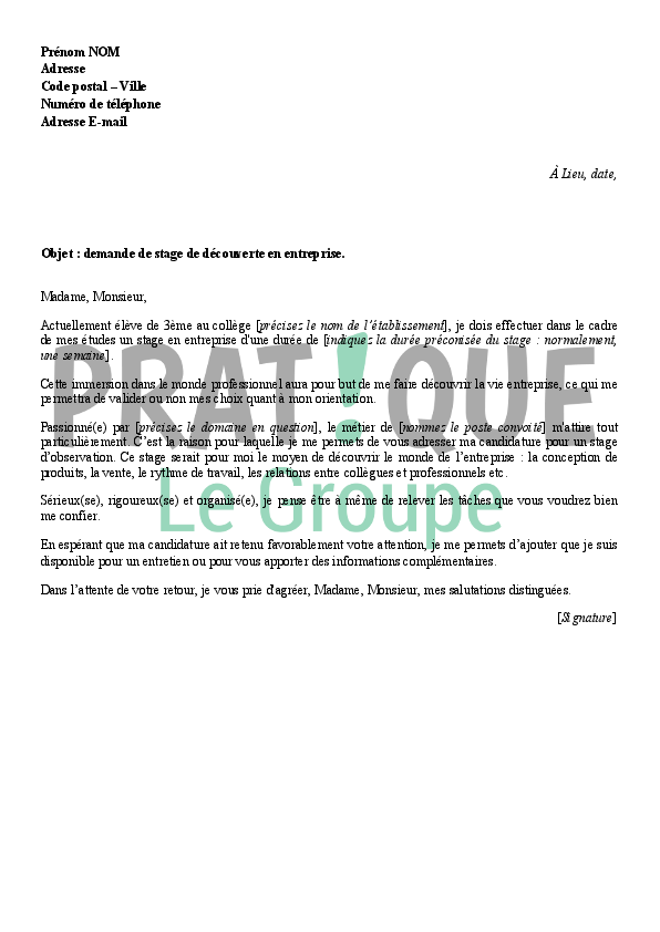 exemple de lettre de motivation stage de troisieme