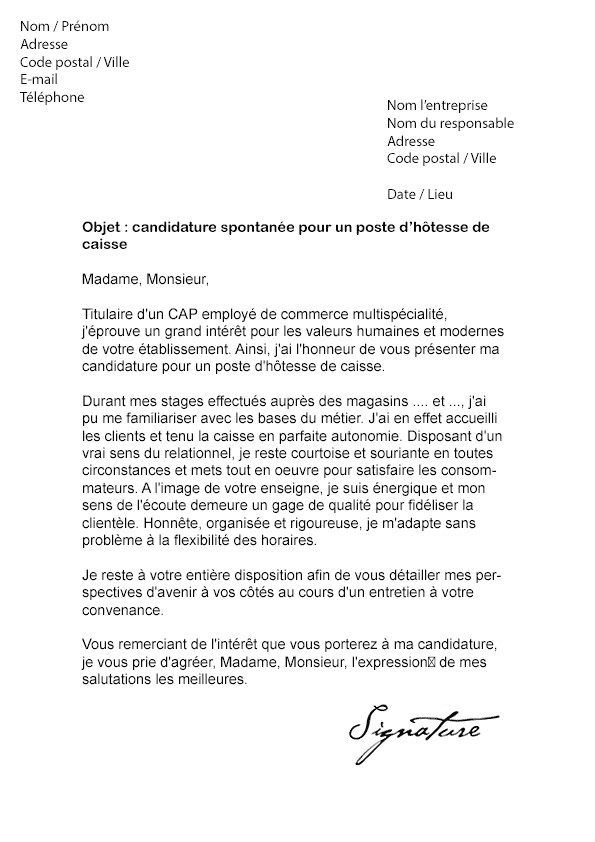 lettre de motivation candidature leclerc