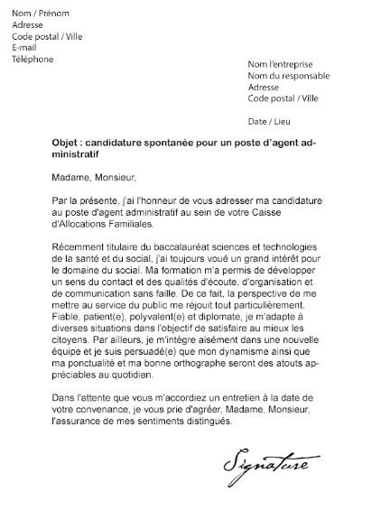 lettre de motivation candidature spontan u00e9e agent