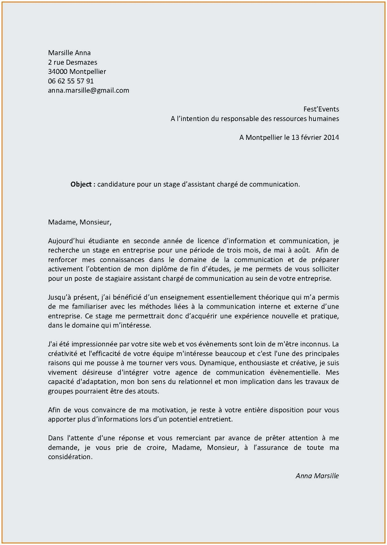 lettre de motivation stage assistant ressources humaines