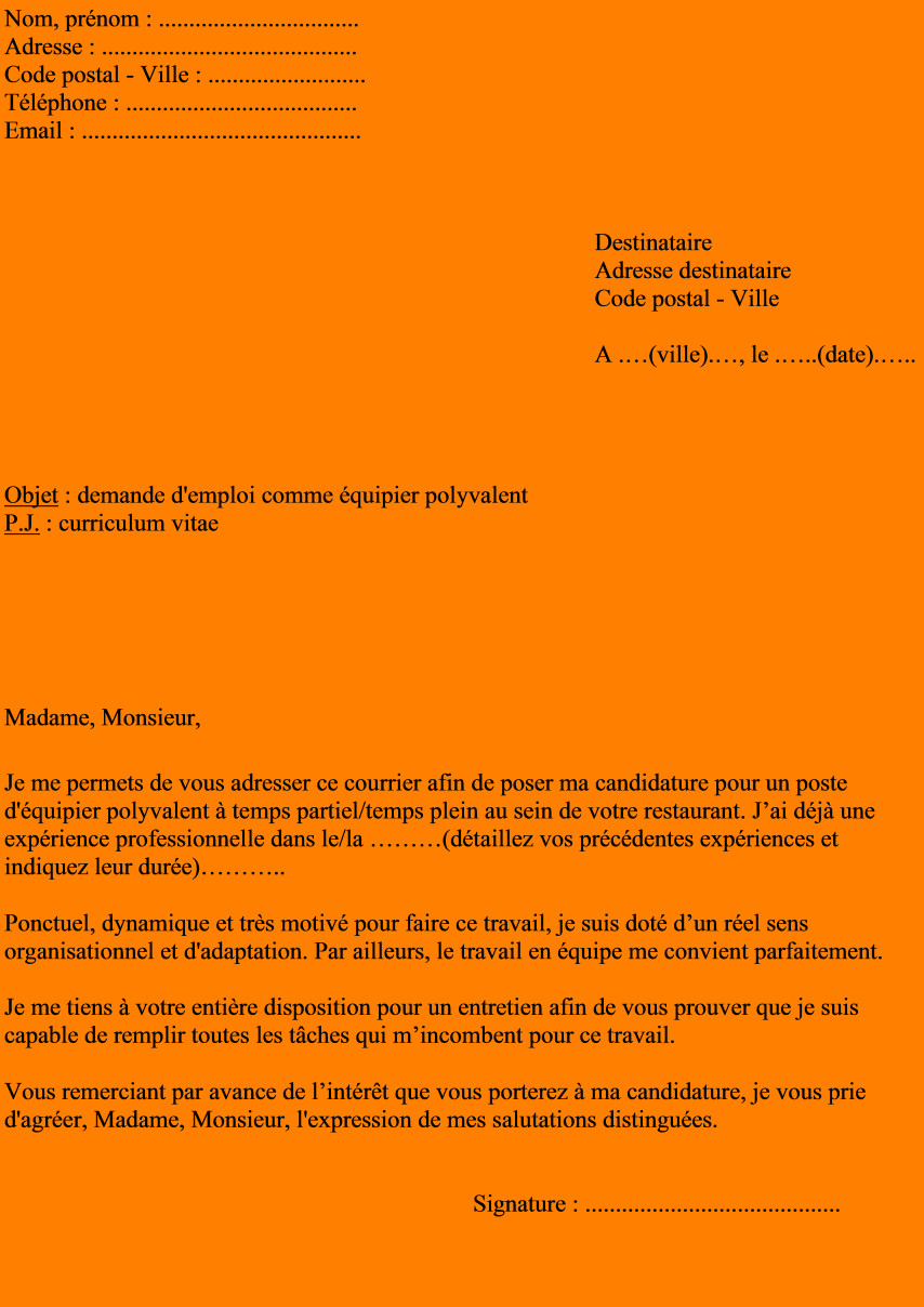 lettre de motivation macdonald temps plein
