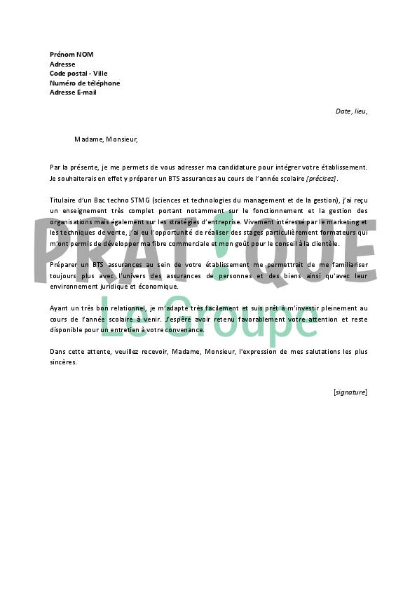 lettre de motivation pour bts assurance en alternance