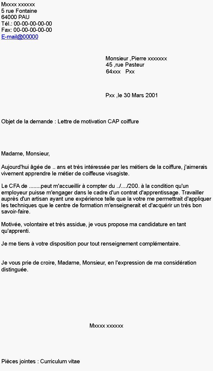 lettre de motivation pour contrat d u0026 39 apprentissage petite