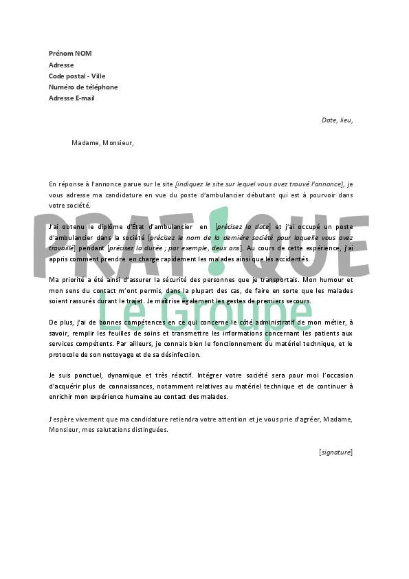 lettre de motivation auxiliaire ambulancier sans diplome
