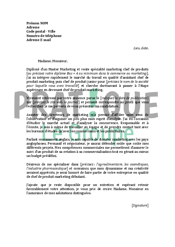 lettre de motivation stage assistant chef de produit