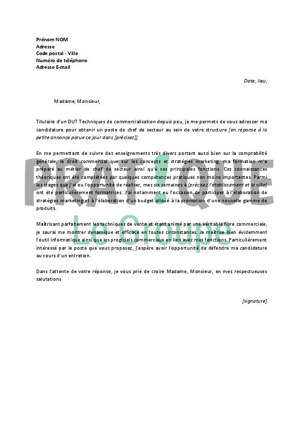 lettre de motivation chef de secteur grande distribution