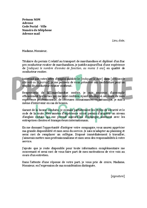 Modele lettre de motivation chauffeur routier - laboite-cv.fr