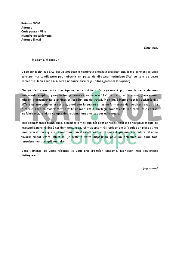 lettre de motivation responsable atelier