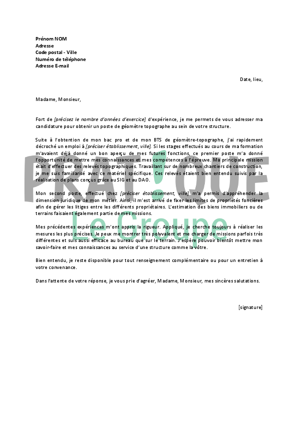 Lettre de motivation topographe