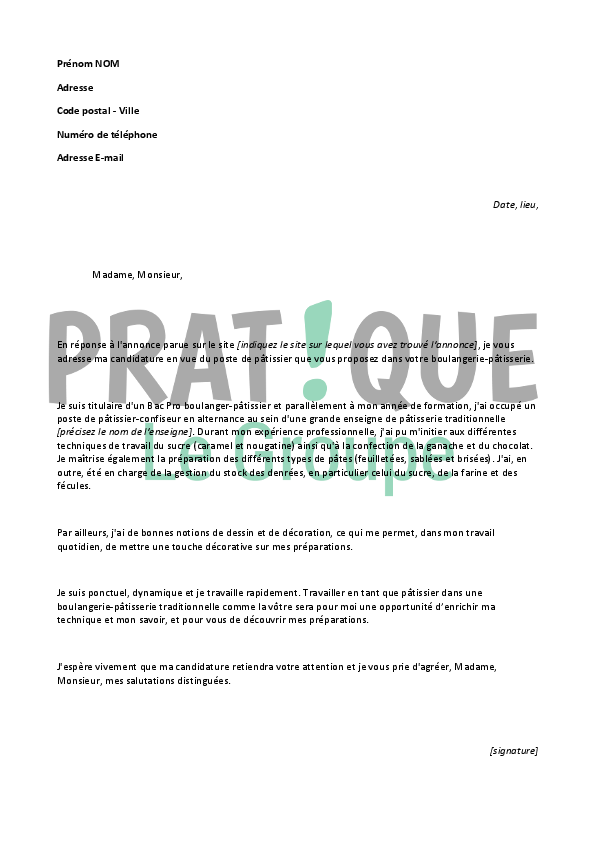 lettre de motivation apprentissage patissier gratuit