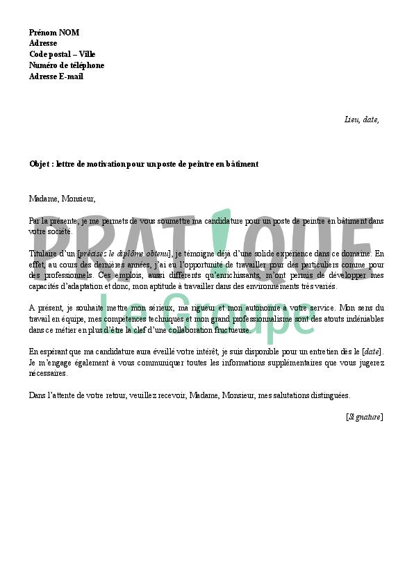 lettre de motivation pour le btp