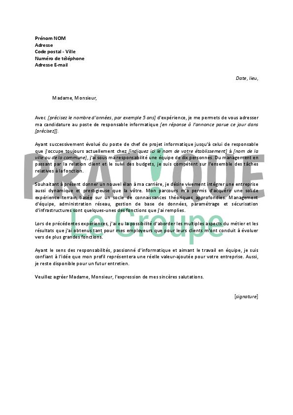 lettre de motivation pour un poste de chef d u0026 39  u00e9quipe