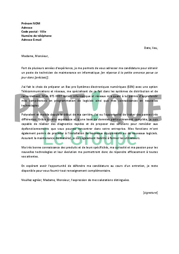 technicien de maintenance lettre de motivation