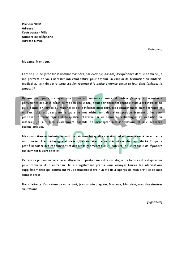 Lettre de motivation livreur installateur medical