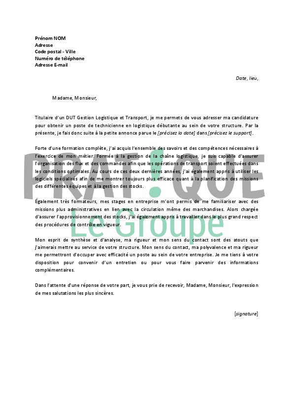 lettre de motivation gestion logistique et transport