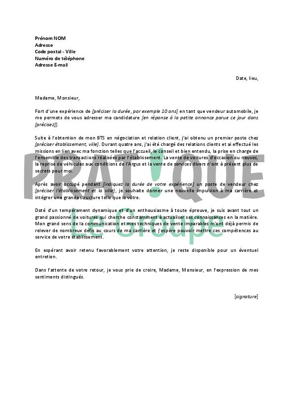 Lettre de motivation vendeur voiture - laboite-cv.fr