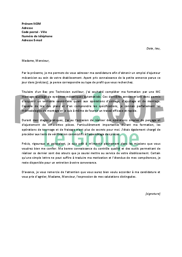 lettre de motivation technicien d u0026 39 usinage stage
