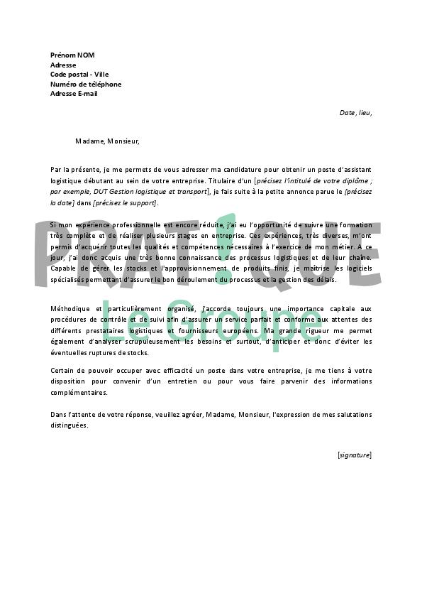 Exemple lettre de motivation assistant de gestion