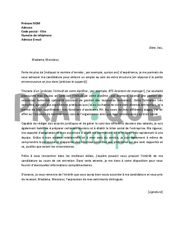 lettre de motivation pour un poste de rrh