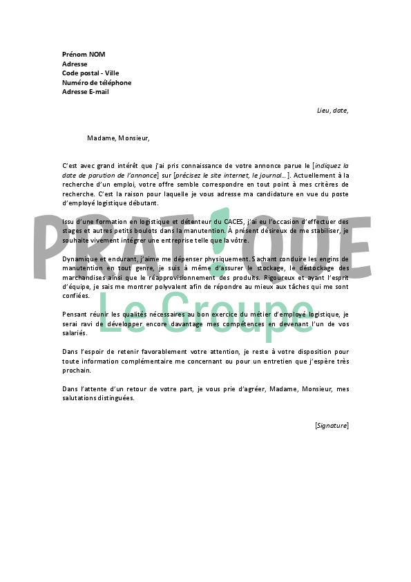 Lettre de motivation agent de logistique - laboite-cv.fr