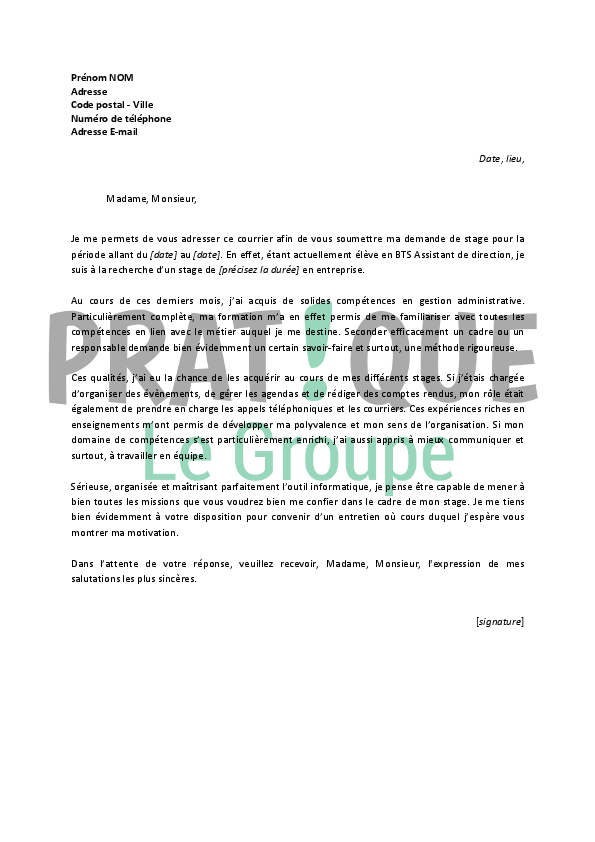 Lettre de motivation stage assistant social gratuit