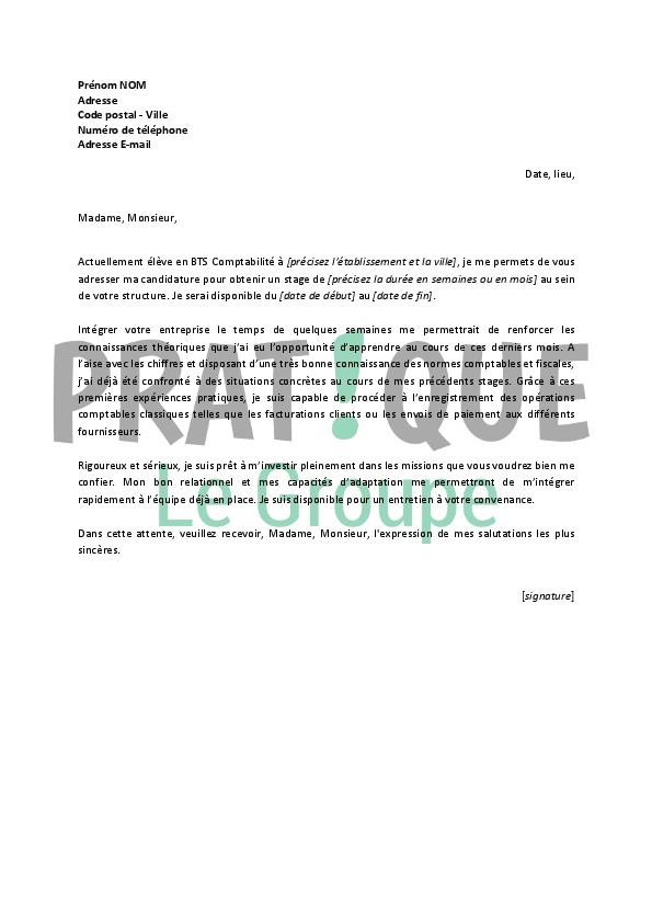 lettre de motivation pour un bts comptabilite et gestion